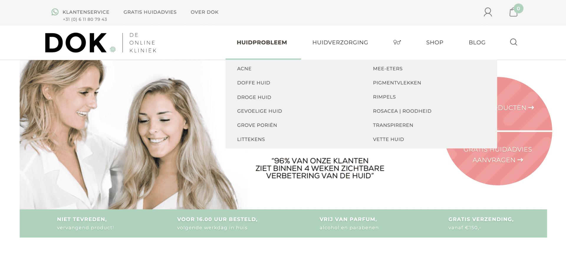 Deonlinekliniek-website-navigatie